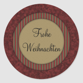 Frohe Weihnachten Round Sticker