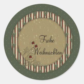 Frohe Weihnachten Round Stickers
