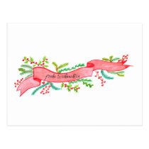Frohe Weihnachten, watercolor Christmas banner Postcard