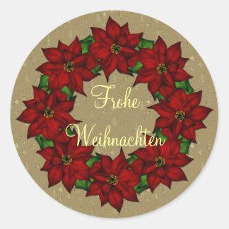 Frohe Weihnachten - Weihnachtsstern Motiv Round Stickers
