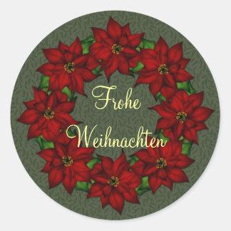 Frohe Weihnachten - Weihnachtsstern Motiv Round Sticker