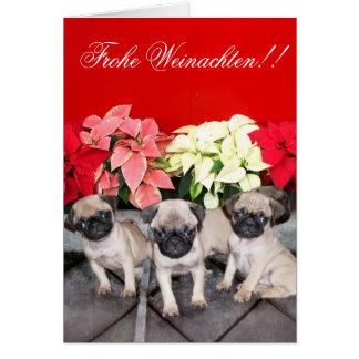 Frohe Weinachten!! pug puppy greeting card