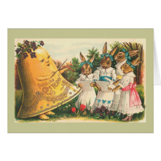 Fröhliche Ostern Vintage Easter Bunnies Greeting Card