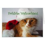 Fröhliche Weihnachten - gato que lleva el gorra de Tarjetas