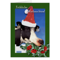 Frohliche Weihnachten, German Christmas, Cow Card