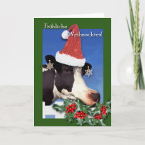 Frohliche Weihnachten, German Christmas, Cow Holiday Card
