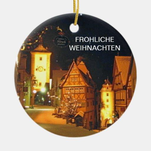 frohliche weihnachten merry christmas ceramic ornament. Black Bedroom Furniture Sets. Home Design Ideas