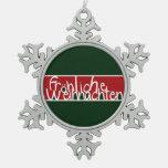 Frohliche Weihnachten Snowflake Pewter Christmas Ornament