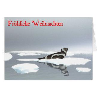 Frohliche Weihnachten - sello de la cinta en el hi Tarjeta