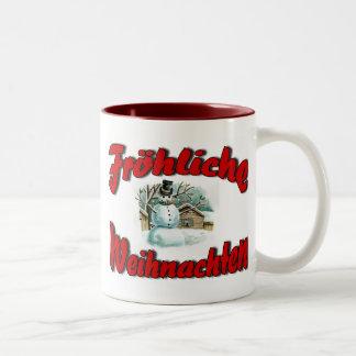 Fröhliche Weihnachten Two-Tone Coffee Mug