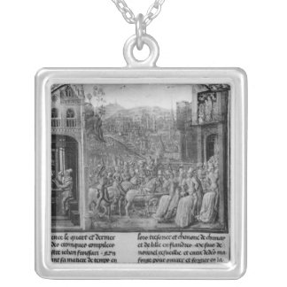 Froissart writing his chronicle silver plated necklace