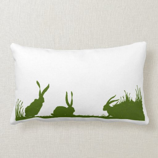 Frolicking Bunnies in Green Silhouette Throw Pillows