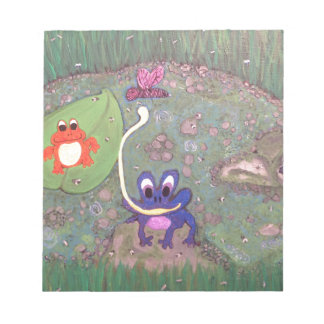 Frolicking Frogs an original acrylic painting Scratch Pads