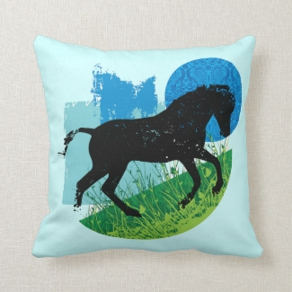 Frolicking Horse Design Throw Pillow