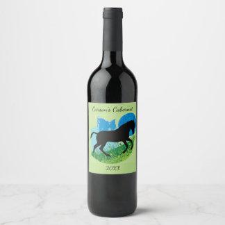 Frolicking Horse Design Wine Label