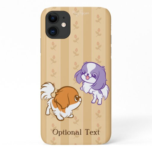 Frolicking Kawaii Puppies Japanese Chin iPhone 11 Case