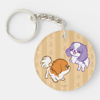 Frolicking Kawaii Puppies Japanese Chin Keychain