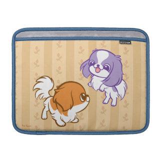 Frolicking Kawaii Puppies Japanese Chin MacBook Sleeves