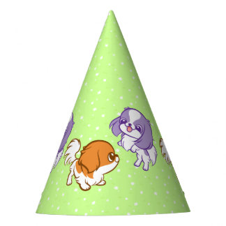 Frolicking Kawaii Puppies Japanese Chin Party Hat