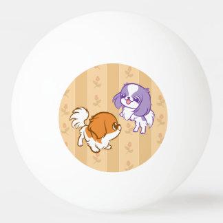 Frolicking Kawaii Puppies Japanese Chin Ping Pong Ball