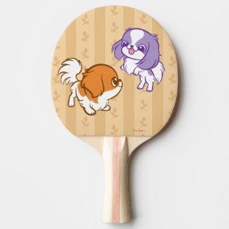Frolicking Kawaii Puppies Japanese Chin Ping-Pong Paddle