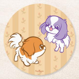 Frolicking Kawaii Puppies Japanese Chin Round Paper Coaster