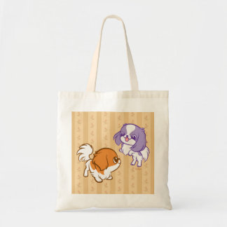 Frolicking Kawaii Puppies Japanese Chin Tote Bag