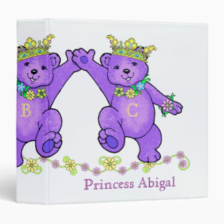 Frolicking Purple Princess Bears Custom 3 Ring Binder