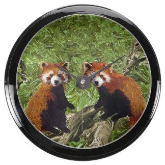 Frolicking Red Pandas Aquarium Clock