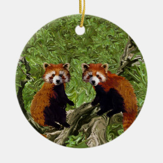 Frolicking Red Pandas Ceramic Ornament