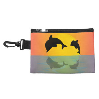 Frollocking Dolphins at Sunset Accessory Bags