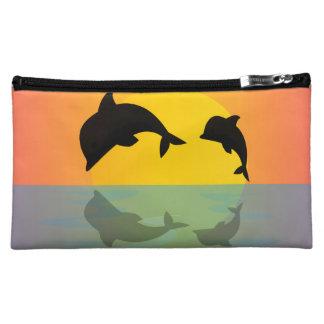 Frollocking Dolphins at Sunset Makeup Bag