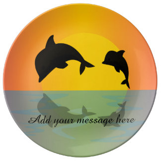 Frollocking Dolphins at Sunset Porcelain Plates