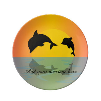 Frollocking Dolphins at Sunset Plate