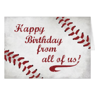 From All of Us Happy Birthday Large Grunge Basebal Card