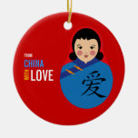 From China With Love Adoption Keepsake Girl Double-Sided Ceramic Round Christmas Ornament