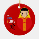 From China With Love - Boy Adoption- Red Thread Double-Sided Ceramic Round Christmas Ornament