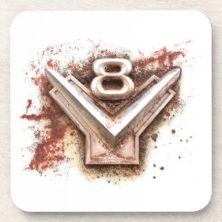From classic car: Rusty old v8 badge in chrome Coasters
