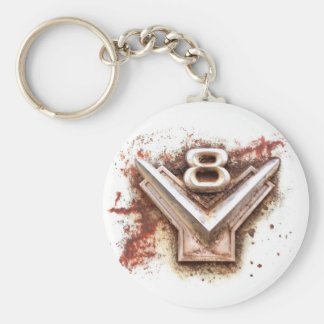 From classic car Rusty old v8 badge in chrome Key Chains
