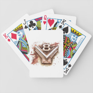 From classic car: Rusty old v8 emblem in chrome Bicycle Playing Cards