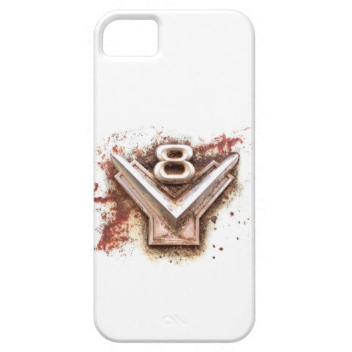 From classic car: Rusty old v8 emblem in chrome iPhone 5 Cover