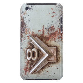 From classic car: Rusty old v8 emblem in chrome iPod Case-Mate Case