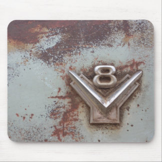 From classic car: Rusty old v8 emblem in chrome Mouse Pad