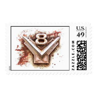 From classic car: Rusty old v8 emblem in chrome Postage