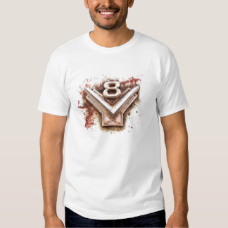From classic car: Rusty old v8 emblem in chrome T Shirt
