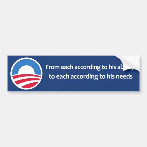 From each according to his ability car bumper sticker
