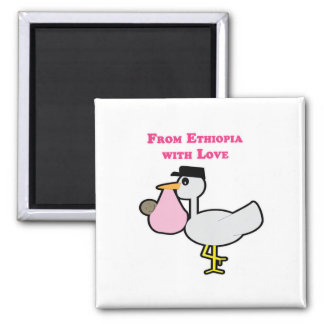 From Ethiopia with Love (girl) 2 Inch Square Magnet