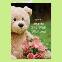 From Group, Get Well Bearable, Teddy Bear Flowers Card