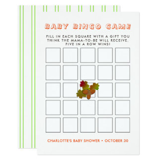 From Little Acorns Rustic Autumn Fall Baby Bingo Card