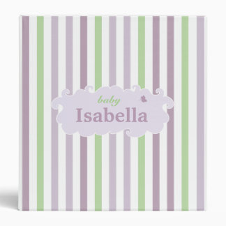 From Lucy: BABY NAME Pink, Lilac & Green 3 Ring Binder